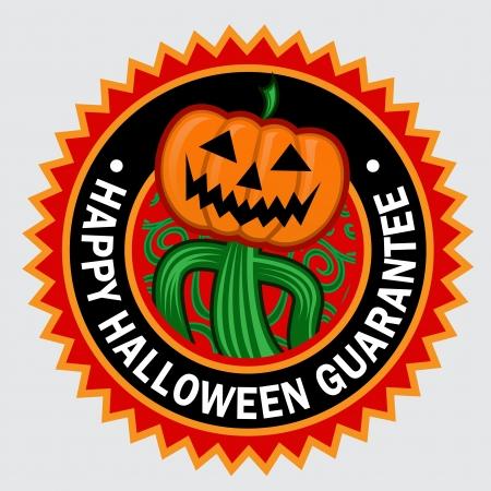 Happy Halloween Garantie Pompoen Seal Sticker Stock Illustratie