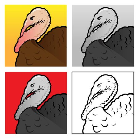 plumed: Turkey head, 4 version illustrations