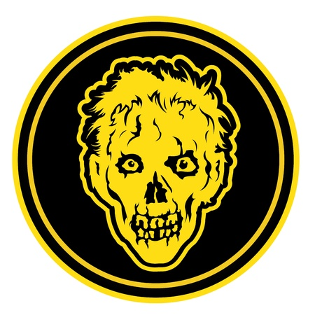 Zombie Face Badge   Seal Vector
