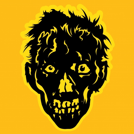 invation: Zombie Face in orange   yellow background