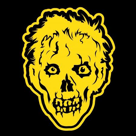 Zombie hoofd in zwarte achtergrond Stock Illustratie