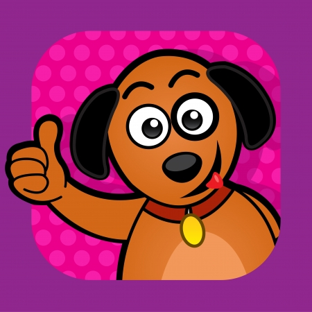 Dog approving Illustration with thumb up Vector