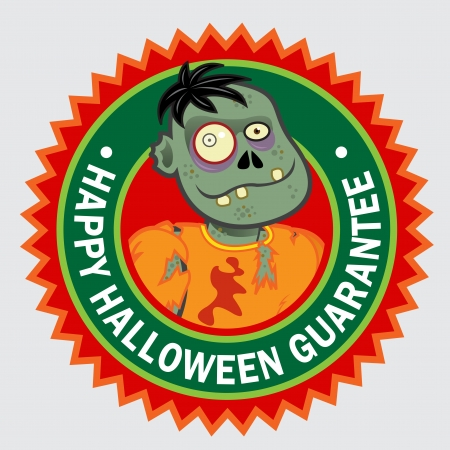 Happy Halloween Guarantee Zombie seal / sticker Stock Vector - 15392877