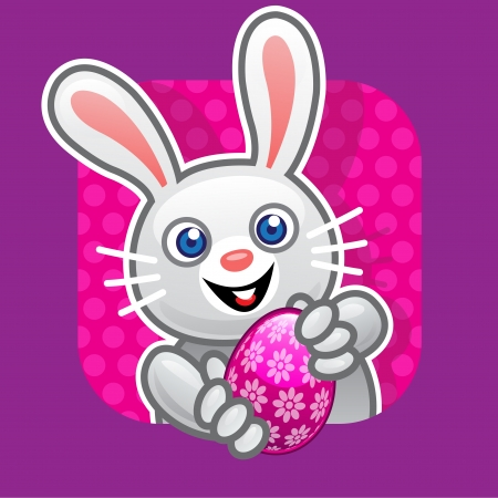 Easter Bunny Offering Egg Illustration Vector