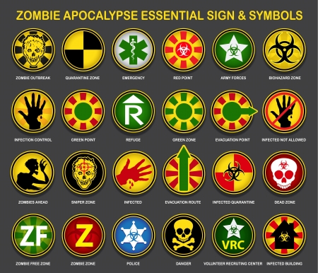 Zombie Apocalypse Essential Signs   Symbols Stock Vector - 15810376