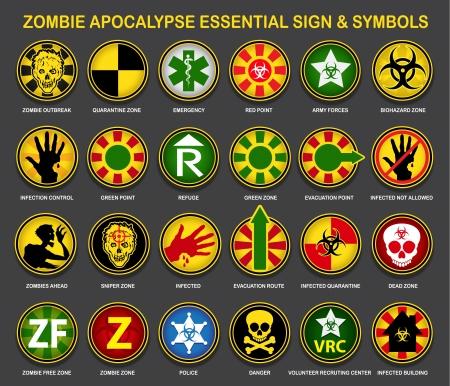 Zombie Apocalypse Essential Tekenen Symbolen Stock Illustratie