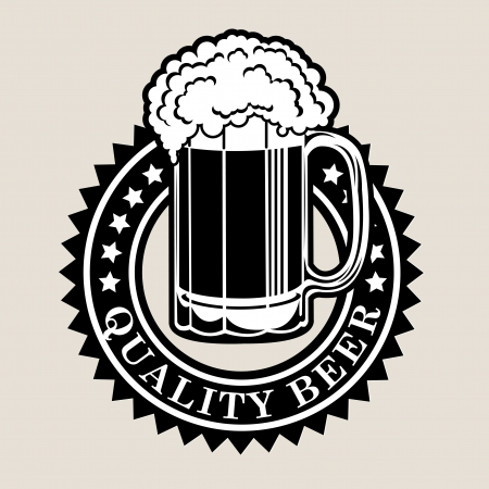 alchoholic drink: Quality Beer Seal  Badge Illustration