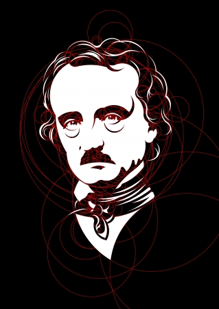 Edgar Allan Poe Portrait made with circles Illustration
