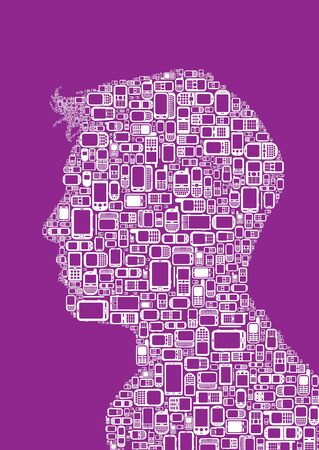 man made: Profile silhouette of man made with Cellphones and Smartphones in purple background