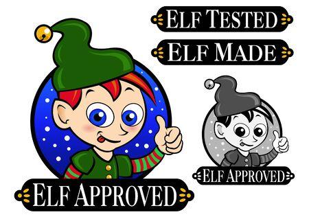 Elf Approved, probado, hecho icono de signo de Seal