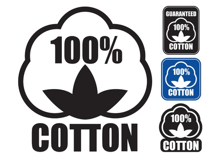 100  Cotton Icon  in three styles  Vector