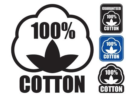 100 Katoen Icoon in drie stijlen Stock Illustratie