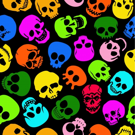 Colorful Skulls seamless pattern in black background 矢量图像