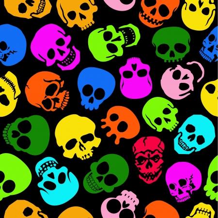 Kleurrijke Schedels naadloze patroon in zwarte achtergrond