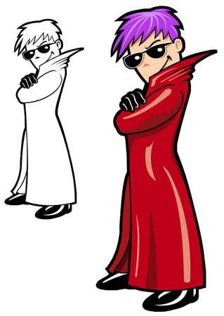 strong man cartoon: Secret Agent in red