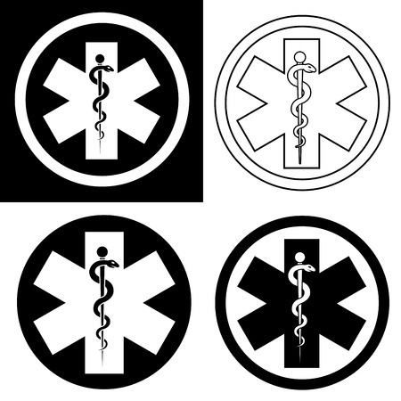 medical emblem: Emergency Symbol in Black & White Illustration