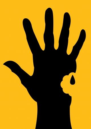 dead man: Bitten Hand Silhouette