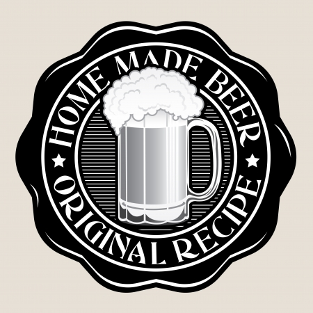 beer drinking: Home Made Beer  Original Recipe Seal Illustration