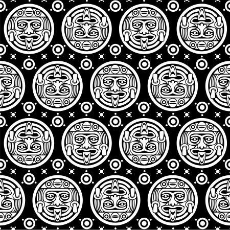 Aztec Naadloze Patroon in Black & White