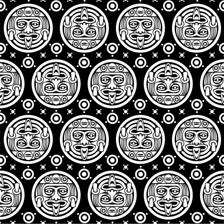 mayan prophecy: Aztec Seamless Pattern in Black & White