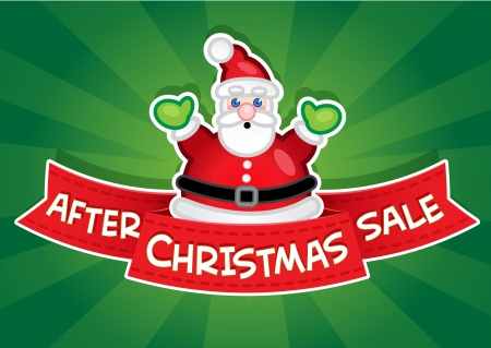 After Christmas Sale Banner  Santa Vector