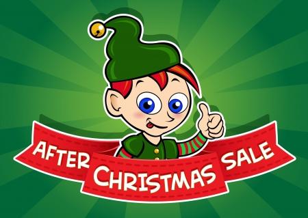 etiquete: After Christmas Sale Banner  Elf Illustration