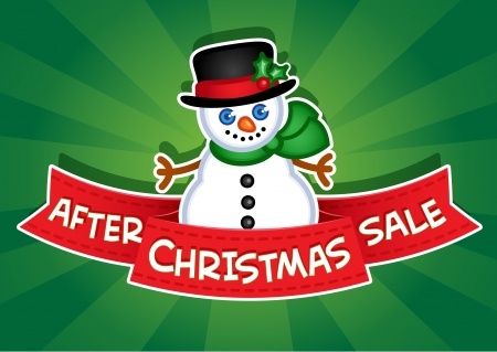 After Christmas Sale Banner  Snowman Vector