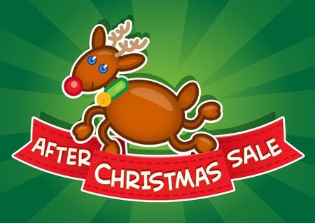 etiquete: After Christmas Sale Banner  Reindeer Illustration