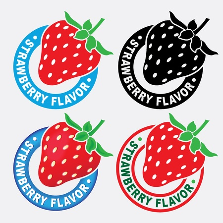 Strawberry Flavor Seal  Mark  Vector