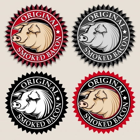 bacon strips: Original Smoked Bacon Seal  Mark Illustration