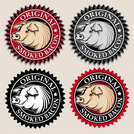 Original Smoked Bacon Seal  Mark Illusztráció