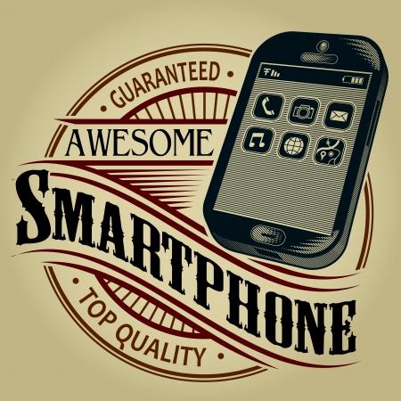 vintage telefoon: Awesome Smartphone gegarandeerde topkwaliteit Seal Stock Illustratie
