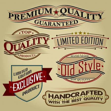 Set of Retro Seals, Labels and Calligraphic Designs  Vector