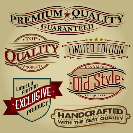 Set of Retro Seals, Labels and Calligraphic Designs