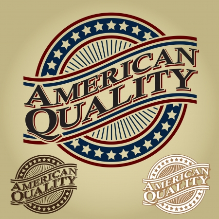 Amerikaanse Kwaliteit Retro Seal / Kenteken Stockfoto - 17901492