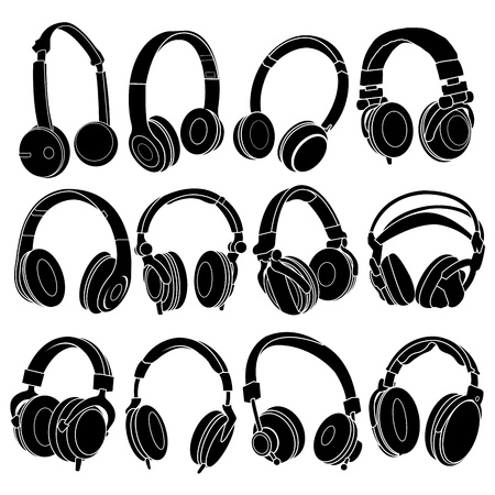 auriculares dj: Silhouettes Set de auriculares Vectores