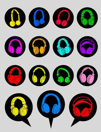 earphones: Headphone Icons and Dialog Bubbles