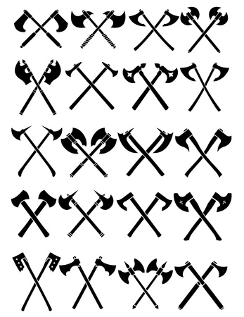 Crossed Axes Set in White Background