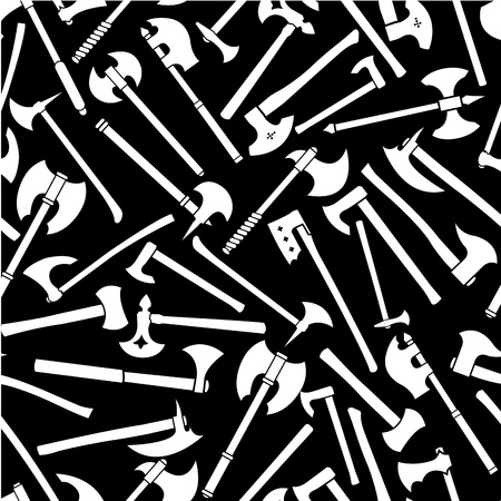 Axes Seamless Pattern in Black & White  Vector