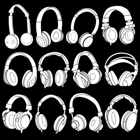 headphones: Headphones Silhouettes Collection on Black Background