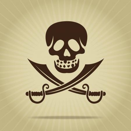 crossed swords: Cr�neo del vintage con espadas cruzadas Silueta Vectores