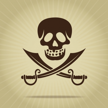Vintage Skull with Crossed Swords Silhouette Vector