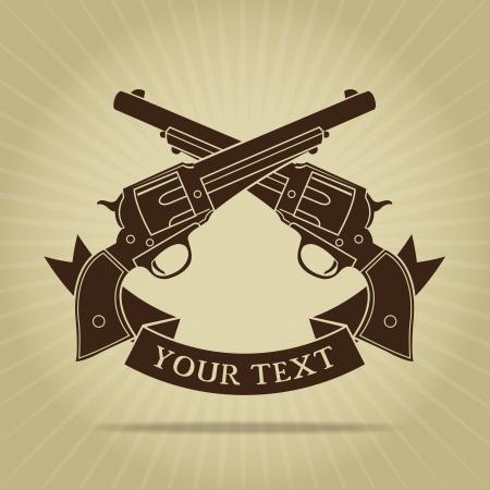 Vintage Gekruiste Pistolen Silhouette