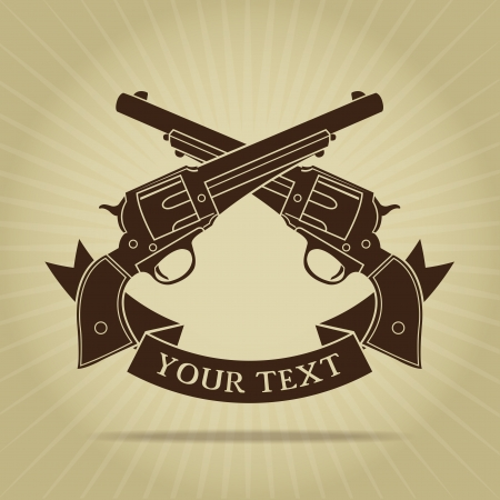 pistola: Vintage Pistolas cruzadas Silueta Vectores