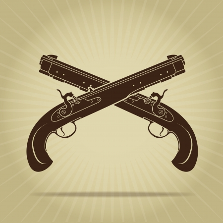 Vintage Crossed Percussion Pistols Silhouette  Vector