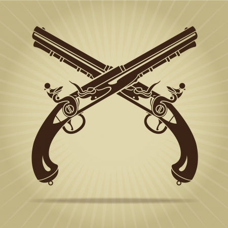 Vintage Crossed Flintlock Pistols Silhouette  Vector