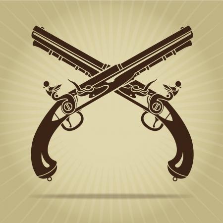flint gun: Vintage cruzadas pistolas de chispa Silueta