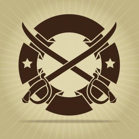 crossed swords: Sello del vintage con Espadas Cruzadas Vectores