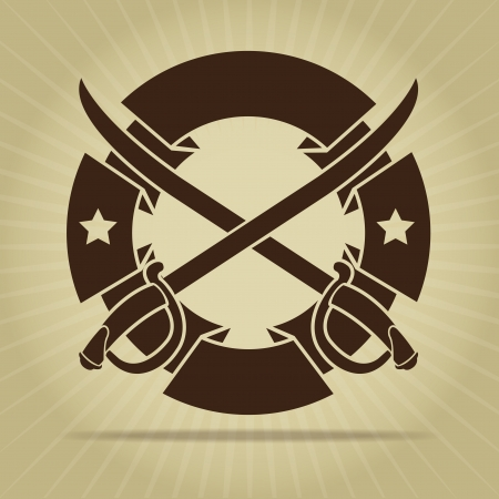 Vintage Seal with Crossed Swords  Vector