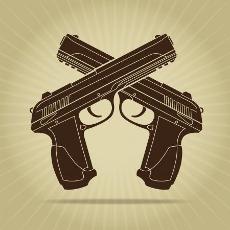 fusil de chasse: Pistolets croisés de style rétro silhouette
